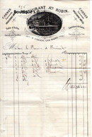 Facture Restaurant A Robin Cannes URiage Les Bains Baronne De Brincard 1884 Table D Hote Hotel - 1800 – 1899