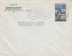 N° 1154 SEUL SUR LETTRE DE PARIS 1958 - 1921-1960: Modern Tijdperk