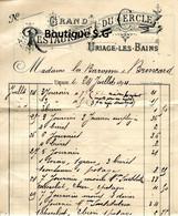 Facture Grand Hotel Du Cercle BAronne De Brincard 1894 Uriage Les Bains - 1800 – 1899