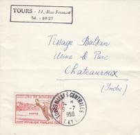 N° 1161 SEUL SUR LETTRE DE TOURS HALLES CENTRALES 1958 - 1921-1960: Modern Period