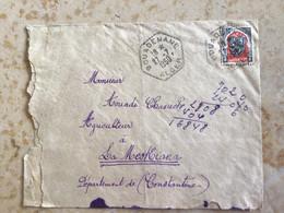 Algérie : Marcophilie ,Lettre Cachet Hexagonal Bouadenane Alger Pr La Meskiana Constantine 1950 - Cartas