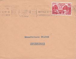 N° 818 SEUL SUR LETTRE DE CHATEAUROUX 1949 - 1921-1960: Modern Period