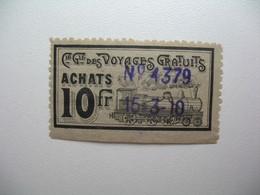 Vignette Label Stamp Vignetta Filatelico Aufkleber France Compagnie Générale Des Voyages Gratuits Trains Locomotives - Other