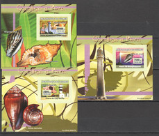 AA1064 IMPERFORATE 2007 REPUBLIQUE DE GUINEE FAUNA ARCHITECTURE SEASHELLS COQUILLAGES PHARES 3 LUX BL MNH - Conchiglie