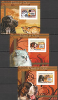 AA1069 IMPERFORATE 2007 DE GUINEE FAUNA DOGS & CATS CHIENS CHATS 3 LUX BL MNH - Cani
