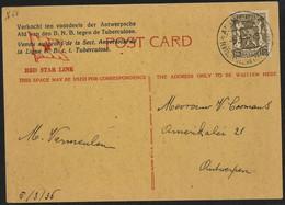 RED STAR LINE Postkaart Verkocht Ten Voordelen Antwerpse B.N.B. Tegen Tuberculose - Cartas