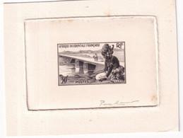 AFRIQUE OCCIDENTALE FRANCAISE - 1946 - SIGNATURE Du GRAVEUR PIERRE MUNIER Sur EPREUVE EN NOIR (RACCOURCIE) - Künstlerentwürfe
