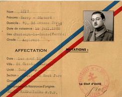 39/45. ARCHIVE FFI . MAQUIS DU HAUT JURA . CAMP TONY . LAISSEZ PASSEZ ... - Documents