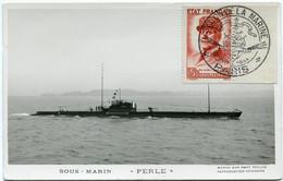 """FRANCE CARTE POSTALE SOUS-MARIN """" PERLE """" AFFRANCHIE AVEC LE N°580 AVEC OBL ILL SALON DE LA MARINE 22 JUIN 1944 PARIS - Sottomarini"""