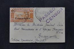 NOUVELLES HÉBRIDES - France Libre Sur Petite Enveloppe De Port Vila Pour Brazzaville En 1941 Avec Contrôle  - L 103860 - Storia Postale