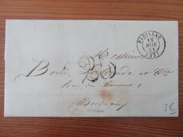 France - CàD + Taxe 25 + Cachet De Cire Intact Sur Lettre Entre Pauillac Et Bordeaux - 1851 - 1849-1876: Classic Period