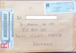 AMOUNT 5.15, BEAUNE, MACHINE PRINTED STICKER STAMP ON REGISTERED COVER, 2007, FRANCE - Briefe U. Dokumente