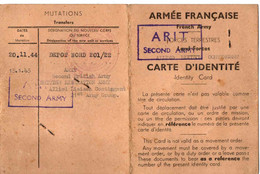 39/45. ARCHIVE FFI . 2EME ARMY . CARTE ...D.G.E.R + DIPLOME FORCE TRAINING CENTER USA - Documents