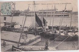 Bv - Cpa LORIENT - Bateaux Pêcheurs à L'estacade Et Défense Mobile - Lorient