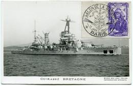 FRANCE CARTE POSTALE CUIRASSE  BRETAGNE  AFFRANCHIE AVEC LE N°594 AVEC OBL ILL SALON DE LA MARINE 13 JUIN 1944 PARIS - Barche