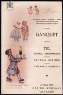 MENU CASINO KURSAAL OOSTENDE 1936 - BANQUET ASSURANCE TRANSPORT - Illustr. Coppens - Menus
