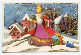Carte à Système ,St Nicolas. Paillettes Argentées, Jouets, Toys. Village Sous La Neige. - Saint-Nicholas Day