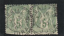 SAGE N° 75  CACHET A DATE CERCLE EXT. Perlé TYPE 23 / BERSAILLIN ( JURA ) 15 JANV. 1900  - REF 1604 -Centré - 1876-1898 Sage (Tipo II)