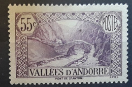 ANDORRA ANDORRE 1937 , Yvert No 66, 55 C Violet Pont De Saint Antoine,  La Massana Neuf ** MNH TTB Cote 55 Euros - Unused Stamps