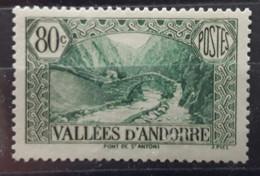 ANDORRA ANDORRE 1937 , Yvert No 71, 80 C Vert  Pont De Saint Antoine,  La Massana Neuf ** MNH TTB Cote 64 Euros - Unused Stamps