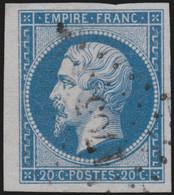 N°14B Bord De Feuille, Napoléon 20 Bleu, Type II, Oblitéré - SUPERBE - 1853-1860 Napoléon III