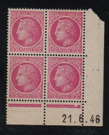 FRANCE  Coin Daté **  Type Cérès De Mazelin  1F50  Lilas  Yvert 679  21.6.46   Neuf Sans Charnière - 1940-1949