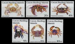 Kokos-Inseln 1992 - Mi-Nr. 260-265 ** - MNH - Krabben / Crabs - Isole Cocos (Keeling)