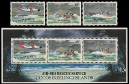 Kokos-Inseln 1993 - Mi-Nr. 299-301 & Block 13 ** - MNH - Flugzeuge / Airplanes - Isole Cocos (Keeling)