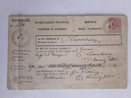 ECHTERNACH  LUXEMBOURG BRIEF RECOMMANDÉ MANDAT D' ENCAISSEMENT 1880 - Stamped Stationery