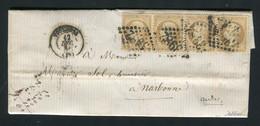 Rare Lettre En Double Port De Toulouse Pour Narbonne ( 1864 ) Avec Une Bande De Quatre N° 21 - 1849-1876: Classic Period