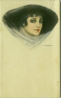 NANNI SIGNED 1910s  POSTCARD - GLAMOUR WOMAN WITH BLACK HAT - N.21/1 (BG1830) - Nanni