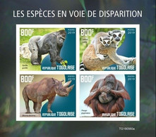 Togo 2019, Animals In Danger, Gorilla, Rhino, 4val In BF IMPERFORATED - Chimpanzees