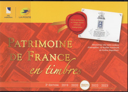 "2021 /  BROCHURE 3ème  édition - PATRIMOINE DE FRANCE En Timbres - 10 BF + CADEAU FEUILLET "" NAPOLEON "" - Documenti Della Posta"