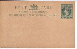 MALAYA-PERAK  Ganzsache Postkarte  Postal Stationary Postcard One Cent  Ungebraucht Unused - Perak