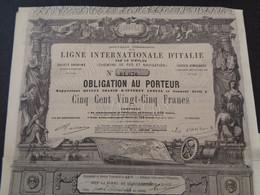ITALIE - 2 TITRES IDENTIQUES - LIGNE INTERNATIONALE D'ITALIE PAR LE SIMPLON, CDF  - OBLIGATION 525 FRS - 1866 - Unclassified