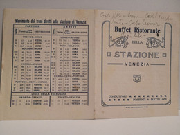 Orario Treni Stazione Venezia  Udine Treviso Cervignano. Primi 900. BUFFET RISTORANTE Della STAZIONE - Europa