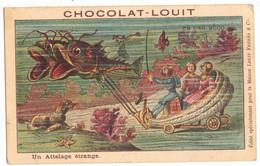 V°  CPA CHROMO PUBLICITAIRE CHOCOLAT LOUIT ANTICIPATION EN L'AN 2000 ATTELAGE ETRANGE UTOPIE SURNATUREL MER SCAPHANDRIER - Louit