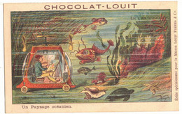 V°  CPA CHROMO PUBLICITAIRE CHOCOLAT LOUIT ANTICIPATION EN L'AN 2000 PAYSAGE OCEANIEN UTOPIE SURNATUREL MER PEINTRE AUTO - Louit