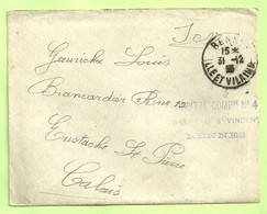 "Brief HOPITAL COMP. N°4 / RENNES Naar ""Brancardier Calais"" (3471 - Esercito Belga"