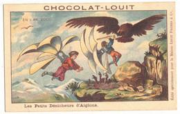 V° CPA CHROMO PUBLICITAIRE CHOCOLAT LOUIT ANTICIPATION EN L'AN 2000 DENICHEURS D'AIGLONS UTOPIE SURNATUREL OISEAUX GEANT - Louit
