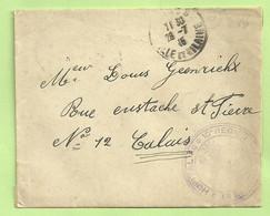 "Brief HOPITAL 69 RENNES Naar Calais (zie Tekst !!! Opvraging Soldaten ...nog In Hopital ??""   (3484 - Esercito Belga"