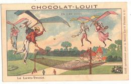 V° CPA CHROMO PUBLICITAIRE CHOCOLAT LOUIT ANTICIPATION EN L'AN 2000 LAWN TENNIS UTOPIE SURNATUREL TRAMPOLINE JEU CERF VO - Louit