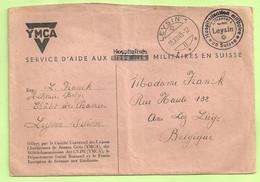 """Brief YMCA Van LEYSIN 19/12/45  + """"Hospitalisation Des Militaires En Suisse"""" Pour ANS Lez Liege (B5743 - Lettere"""