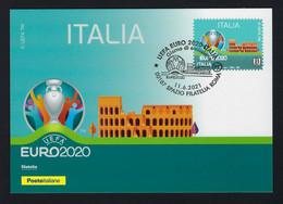 "2021 ITALIA ""UEFA EURO 2020"" CARTOLINA FILATELICA (ANNULLO ROMA) - F.D.C."