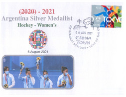 (XX 1) 1 Cover / 1 Envelope - 6 August 2021 (with Australian Toyko Olympics Stamp) Argentina Silver Medal Hockey - Summer 2020: Tokyo