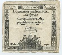 1793 Frankreich, 15 Sols Assignat - Assegnati