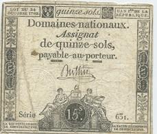 1792 Frankreich, 15 Sols Assignat - Assegnati