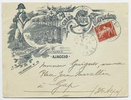 FRANCE SEMEUSE 10C BELLE ENVELOPPE COVER LETTRE ILLUSTRATION GRAND HOTEL NAPOLEON AJACCIO CORSE 15.4.1913 - Elzas-Lotharingen