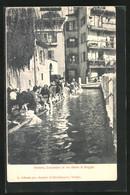 Cartolina Trento, Lavandare In Via Dietro Le Roggie, Waschfrauen Bei Der Arbeit - Trento