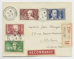 FRANCE SERIE SURTAXE CALLOT HUGO BERLIOZ PASTEUR LETTRE REC EXPO PHIL POITIERS 13.5.1937 POUR MELUN - 1921-1960: Modern Tijdperk
